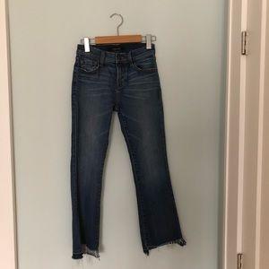 J Brand cropped jeans with frayed step hem